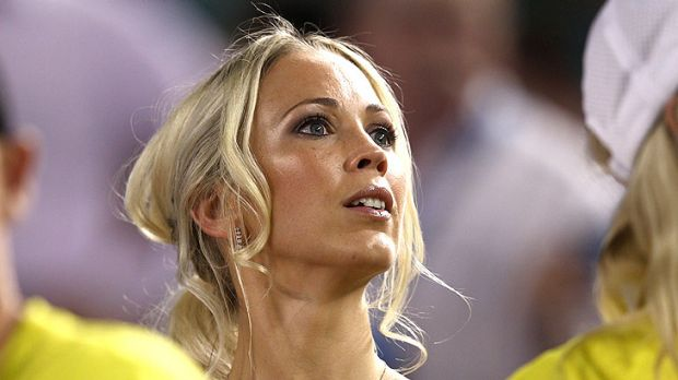 Lleyton Hewitt's wife Bec watches from the stands at Rod Laver Arena.