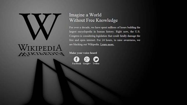 Wikipedia blocked out its site in protest against proposed US anti-piracy laws.