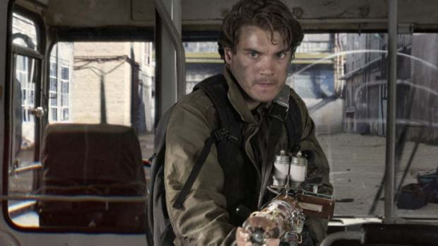 Who you gonna call? … Emile Hirsche shows there's only one way to tackle a pesky orange blob which threatens to ...