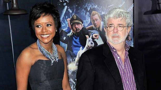 George Lucas and partner Mellody Hobson at a film event in New York last month.