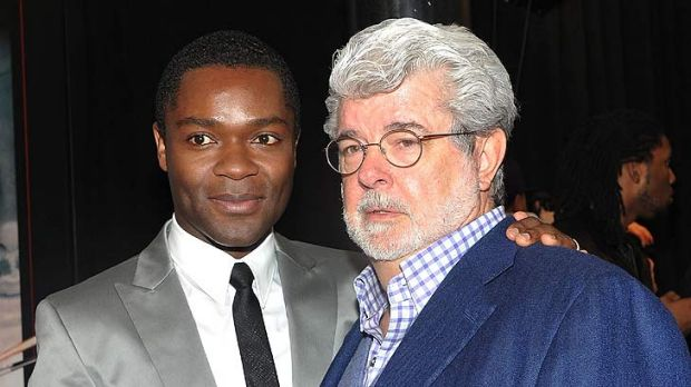 Director George Lucas with actor David Oyelowo at the Red Tails premiere last week.