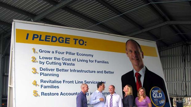 """Campbell Newman launches his """"LNP pledge trailer"""" in Brisbane."""