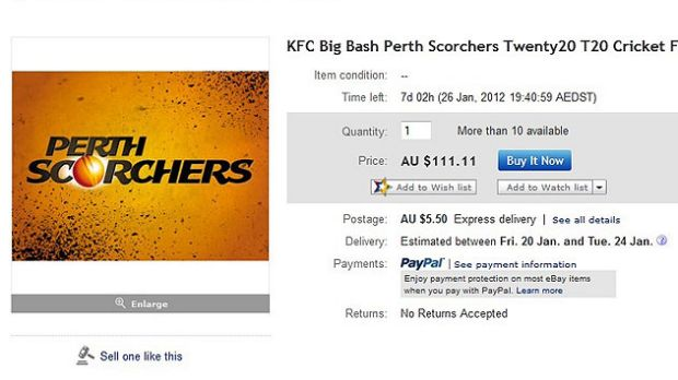 An eBay advertisment for a ticket for Saturday night's Perth Scorchers semi-final - interesting considering tickets ...