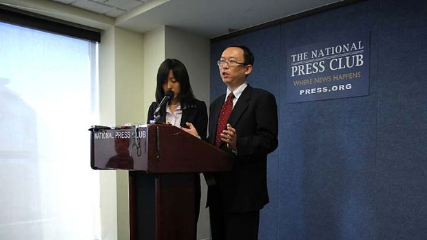 Yu Jie speaks at the National Press Club in Washington. ' When I lost my freedom to write totally ... I was forced to ...