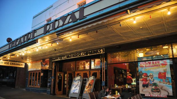 Cinema-goers enjoy a night out in Castlemaine in central Victoria.