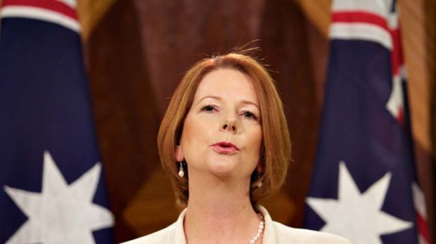 Double or nothing … Julia Gillard reveals the government's new stance yesterday.