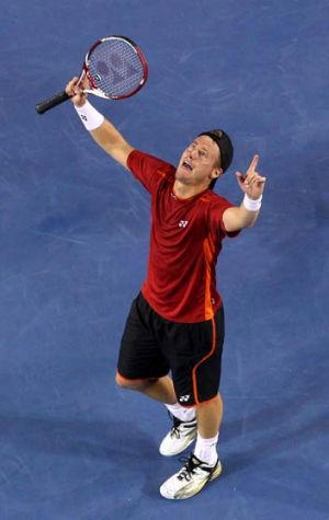 Through to the next round: Lleyton Hewitt.