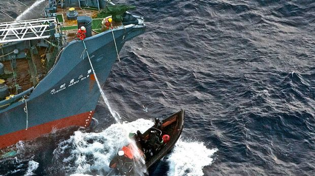 Japanese whalers try to deter members of the Sea Shepherd organisation who are trying to stop whaling in the Antarctic.