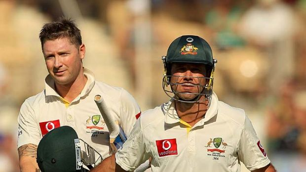Michael Clarke and Ricky Ponting leave the field after play ended on day one of the fourth Test against India.