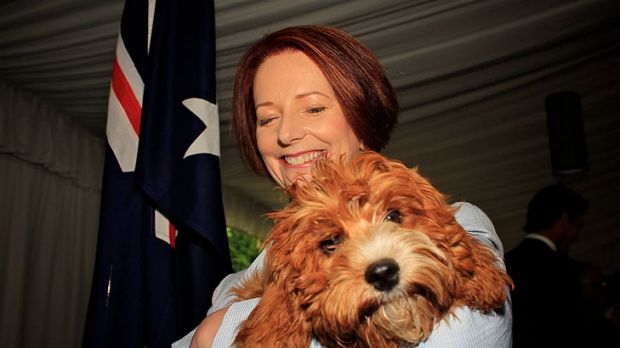 Canoodling with her cavoodle ... Julia Gillard with Reuben.