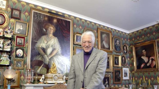 A matching AC … Richard Bonynge with a portrait of his late wife, Dame Joan Sutherland, in his home in Les Avants, ...