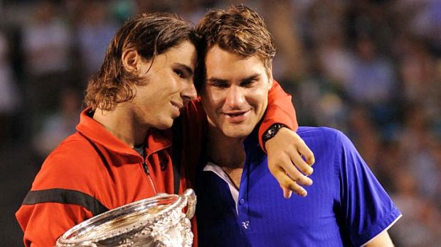 Rafael Nadal with Roger Federer after winning the 2009 Australian Open.