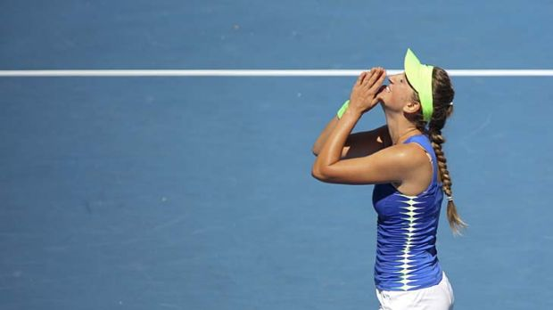 Sweet success: Victoria Azarenka savours her victory over Kim Clijsters yesterday. Next stop the final.