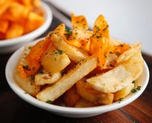 Potato chips and sweet potato curls from Hooked on Chapel Street.