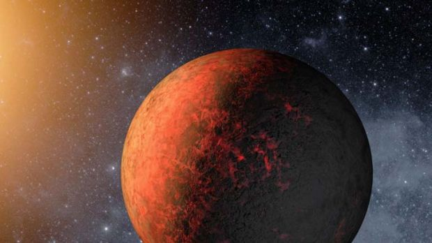 An illustration of Kepler-20e where the temperature is about 760 degrees.