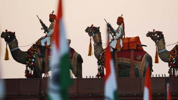 High drama ... mounted officers rehearse on Raisina Hill.