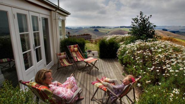 The rolling hills at Bena are reminiscent of Ireland for Carolyn Creswell, with daughter Lily, 5.