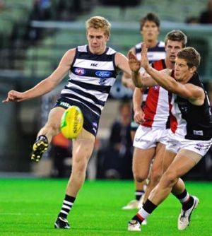 Kicking on: Geelong's Cameron Guthrie is hoping some good form early this year can keep him in the senior team.