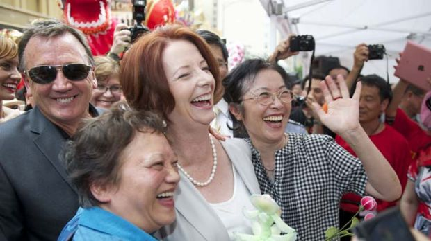 Julia Gillard celebrates Chinese New Year in Melbourne yesterday after talks with New Zealand cabinet ministers.