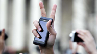 Pro-Egyptian demonstrator, hold their mobile phones aloft and flash the V-sign for victory during a rally staged by ...