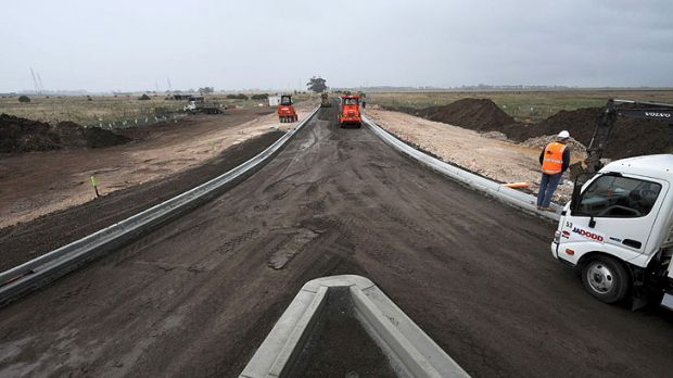 The road to the planned Caroline Springs railway station.