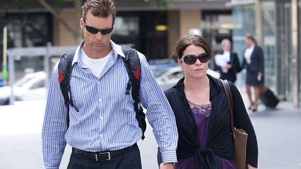 Fiona Brown, who is suing Maurice Blackburn Cashman, leaves court with her husband, Tony Ritchie.