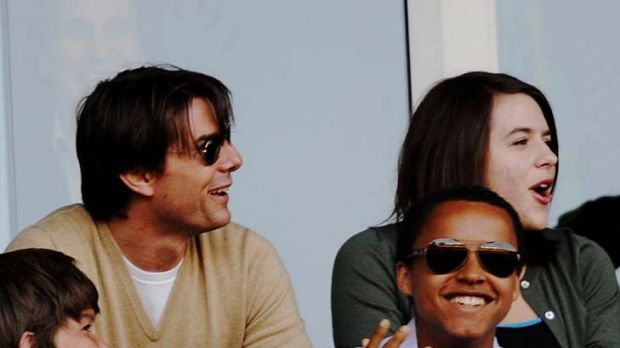 Tom Cruise, son Connor and daughter Isabella at a Los Angeles Galaxy game in 2009.
