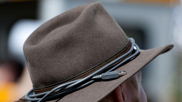 USB cable wrapped around a hat.