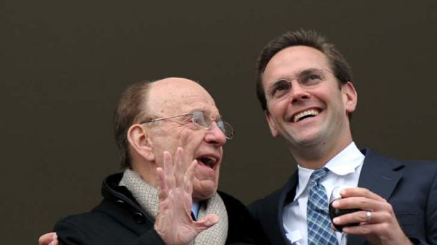 Media mogul Rupert Murdoch and son James.