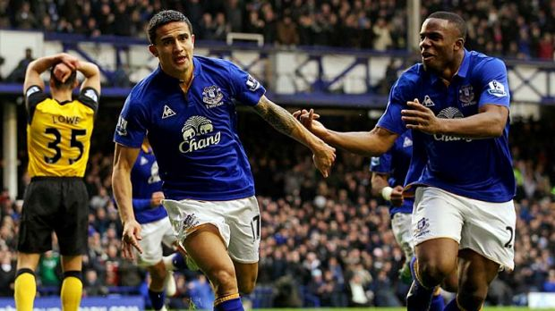 Tim Cahill with Victor Anichebe after scoring Everton's first goal against Blackburn.