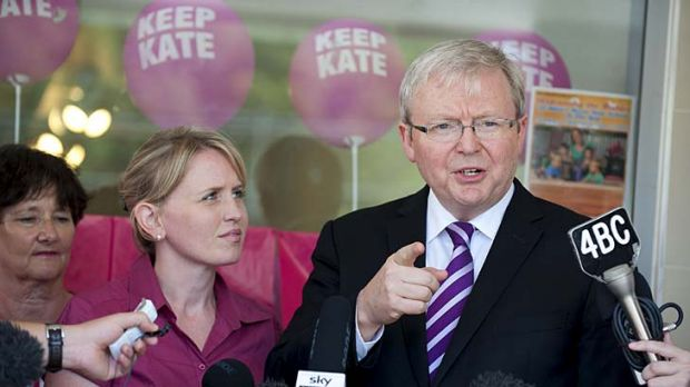 Kevin Rudd and Kate Jones.