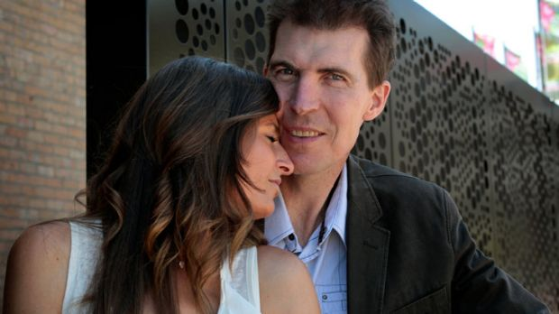 Difficult time ... Jim Stynes with wife Sam.
