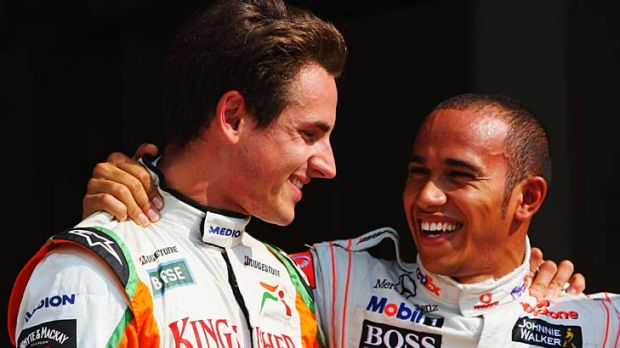 """Lewis is a coward"" ... Adrian Sutil, left, does not want to be friends with Lewis Hamilton any more."
