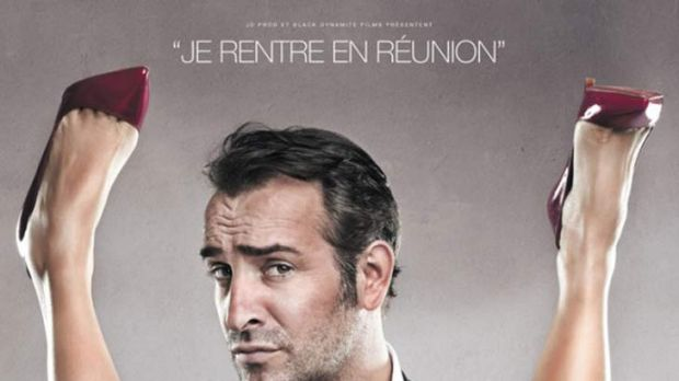 "Poster for the film <i>Les Infideles (The Players)</i> featuring Jean Dujardin. The caption reads: ""I'm going into a ..."