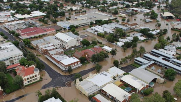 Floodwater encroaches on the northern NSW town of Moree after days of heavy rain in the region.