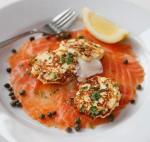 Ricotta fritters with sour cream and salmon from Hausfrau in Albert Park.