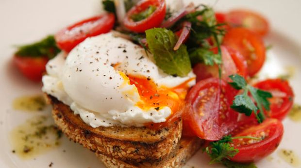 Poached eggs, whipped goat's cheese and tomato salsa from The Premises in Kensington.