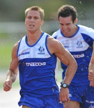 Andrew Swallow (front) during a 2km pre-season time trial.