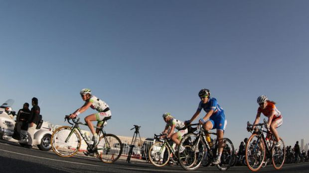 Desert bound: competitors on the third stage of the women's Tour of Qatar.