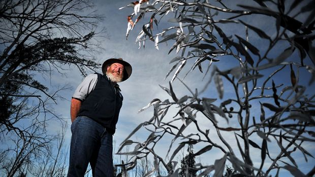 Blacksmith Doug Tarrant with a section of the copper and stainless steel sculpture, a testament to the enduring spirit ...
