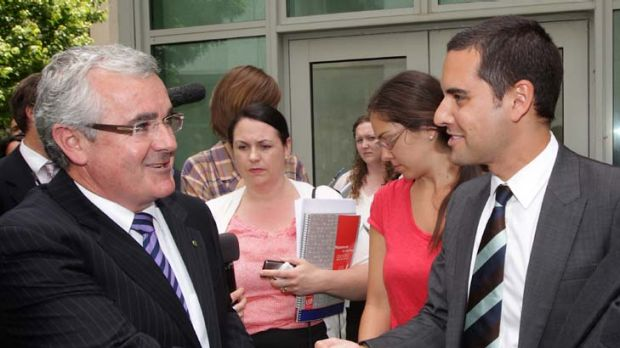 L-R: Independent MP Andrew Wilkie shakes hands with Australian Marriage Equality national convener, Alex Greenwich, at ...