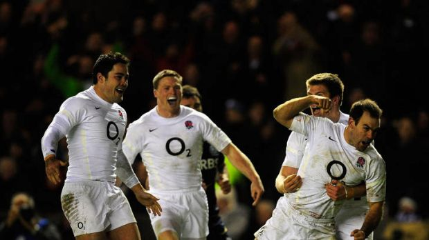 Charlie Hodgson of England celebrates after scoring the only try of the match.