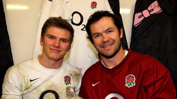 England centre Owen Farrell and his father and assistant England coach coach Andy, pose with the Calcutta Cup.