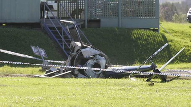 The wreckage following Saturday's helicopter crash at Jaspers Brush.