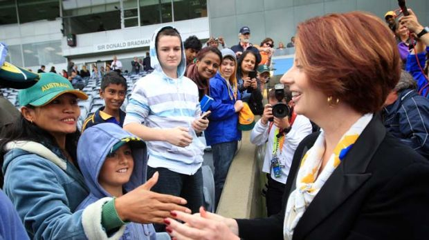 Rising in the polls ... Prime Minister Julia Gillard.