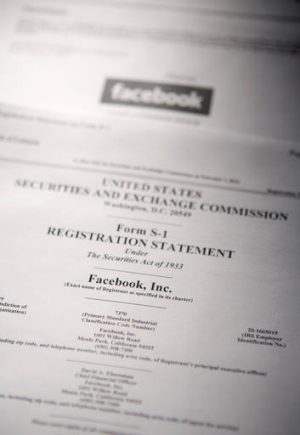 Registration ... the US Securities and Exchange Commission's Form S-1, filled out by Facebook, which filed to raise $US5 ...