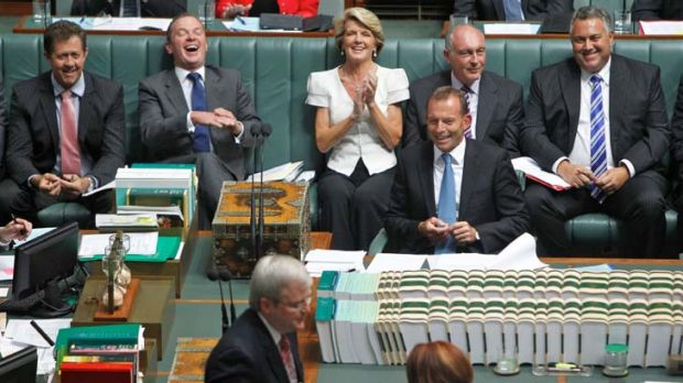 Back in harness … the opposition front bench enjoyed their first day back when Federal Parliament resumed yesterday.