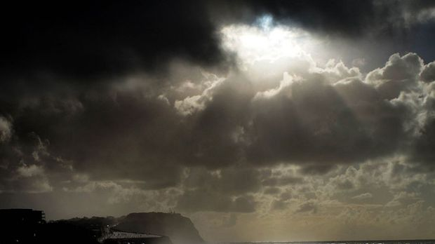 Poetry in motion ... clouds over Merewether and Bar beach at Newcastle.