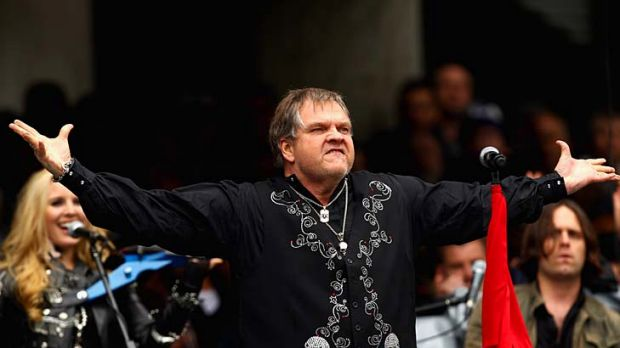 Damp squib: Meat Loaf performs during the 2011 AFL grand final.