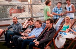 Josh Lawson (third from left) and company in one of the many supposedly glamorous Melbourne locations in the romantic ...